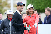 Pep Guardiola and Tommy Fleetwood on the 1st hole during the Celebrity Pro-Am day at Wentworth Club, Virginia Water, United Kingdom on 23 May 2018. Picture by Phil Duncan.