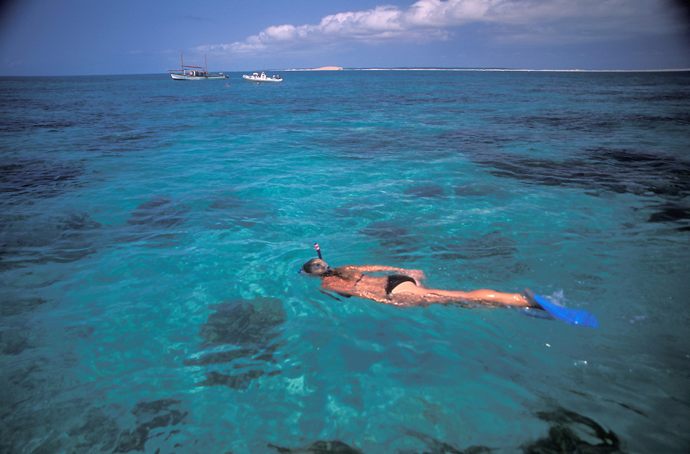 Southern Africa. Mozambique. Bazaruto Archipelago. Dhow Safari. Snorkelling over the reef...DVD0016.©Zute Lightfoot