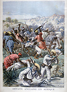 British naval brigade of about 200 under Captain Gamble of HMS  'Raleigh' in retreat from ambush by slave raider Fodi Silah. 18 English killed, 55 injured 24 February 1894, Gambia, Africa. From 'Le Petit Journal', Paris, 12 March 1894.