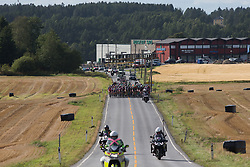 The peloton is back together on Stage 2 of the Ladies Tour of Norway - a 140.4 km road race, between Sarpsborg and Fredrikstad on August 19, 2017, in Ostfold, Norway. (Photo by Balint Hamvas/Velofocus.com)