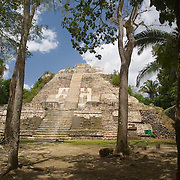 High temple at Lamanai Mayan site, Orange Walk, Belize.