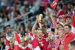 July 1, 2018 - Nizhny Novgorod, Russia - Fans of Denmark during the 2018 FIFA World Cup Russia Round of 16 match between Croatia and Denmark at Nizhny Novgorod Stadium on July 1, 2018 in Nizhny Novgorod, Russia. (Credit Image: © Foto Olimpik/NurPhoto via ZUMA Press)
