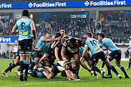 SYDNEY, AUSTRALIA - JUNE 08: Brumbies player Folau Faingaa (2) pushes over for a try at week 17 of Super Rugby between NSW Waratahs and Brumbies on June 08, 2019 at Western Sydney Stadium in NSW, Australia. (Photo by Speed Media/Icon Sportswire)