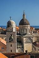St. Blaise church, and distant Adriatic Sea, Dubrovnik, Croatia a UNESCO World Heritage Site.