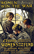 World War I 1914-1918:  Women Win the War - British YWCA  poster showing women at work at a metal lathe, and appealing for contributions to the the Women's War Time Fund to provide accommodation and facilities for them.