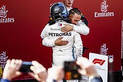 May 13, 2018 - Barcelona, Catalonia, Spain - 44 Lewis Hamilton from Great Britain Mercedes W09 Hybrid EQ Power+ team Mercedes GP celebrating his victory with the second place of 77 Valtteri Bottas from Finland Mercedes W09 Hybrid EQ Power+ team Mercedes GP during the Spanish Formula One Grand Prix at Circuit de Catalunya on May 13, 2018 in Montmelo, Spain. (Credit Image: © Xavier Bonilla/NurPhoto via ZUMA Press)