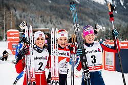 January 1, 2018 - Lenzerheide, Switzerland - Heidi Weng of Norway, Ingvild Flugstad ¯stberg of Norway and Jessica Diggins of the United States celebrate after women's 10km pursuit free technique during Tour de Ski on January 1, 2018 in Lenzerheide. (Credit Image: © Jon Olav Nesvold/Bildbyran via ZUMA Wire)