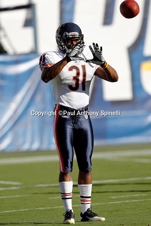 Chicago Bears rookie cornerback Joshua Moore (31) catches a pass during pregame warmups at a NFL week 1 preseason football game against the San Diego Chargers, Saturday, August 14, 2010 in San Diego, California. The Chargers won the game 25-10. (©Paul Anthony Spinelli)