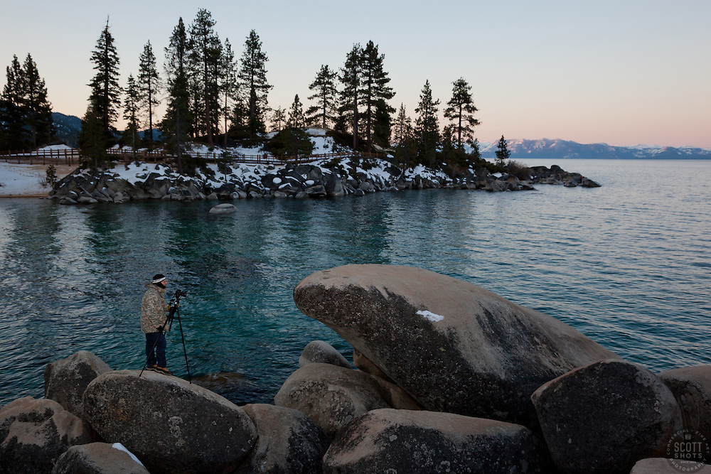 """""""Photographer at Sand Harbor"""" - Photograph of photographer Tony Spiker (www.SpikerPhotography.com) photographing Lake Tahoe from Sand Harbor, Nevada."""