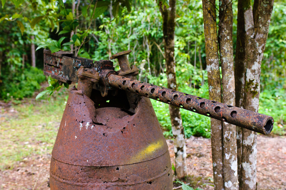 Japanese ordnance from WWII, Biak, West Papua, Indonesia. In World War II, a strategic airfield of the Imperial Japanese Army was located on Biak, serving as a base for operations in the Pacific theatre. American forces eventually captured the island during the Battle of Biak in 1944.