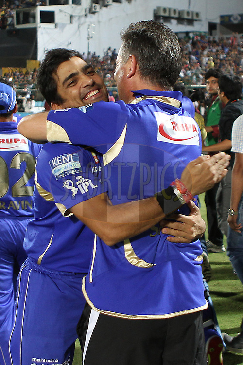 The Royals celebrate the win during match 61 of the Pepsi Indian Premier League ( IPL) 2013  between The Rajasthan Royals and the Chennai SUperkings held at the Sawai Mansingh Stadium in Jaipur on the 12th May 2013..Photo by Ron Gaunt-IPL-SPORTZPICS ..Use of this image is subject to the terms and conditions as outlined by the BCCI. These terms can be found by following this link:..http://www.sportzpics.co.za/image/I0000SoRagM2cIEc