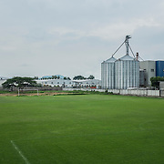 A football field inside a maquila factory around 40 minutes by car from San Salvador