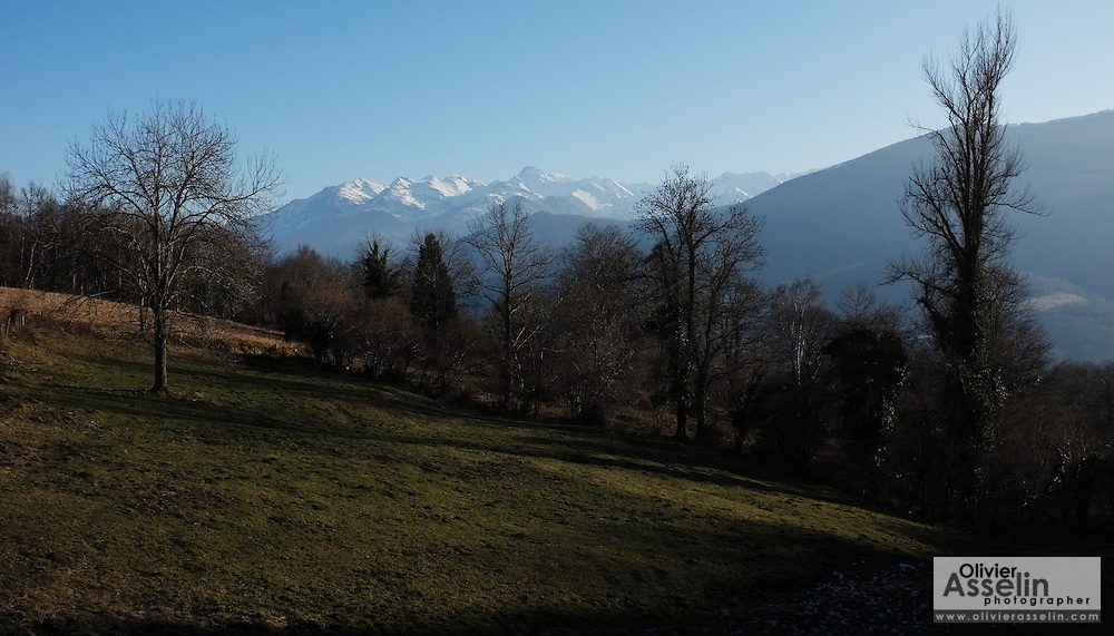 View of the Vallier Massif from above the village of Buzan, Pays Couserans, Ariege, Midi-Pyrenees, France.