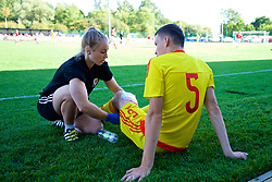 NEWPORT, WALES - Wednesday, July 25, 2018: South Sports Therapist Ffiona Evans with Ryan Bassett during the Welsh Football Trust Cymru Cup 2018 at Dragon Park. (Pic by Paul Greenwood/Propaganda)
