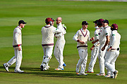 Wicket - Jack Leach of Somerset celebrates taking the wicket of Adam Vogues of Middlesex during the Specsavers County Champ Div 1 match between Somerset County Cricket Club and Middlesex County Cricket Club at the Cooper Associates County Ground, Taunton, United Kingdom on 28 September 2017. Photo by Graham Hunt.