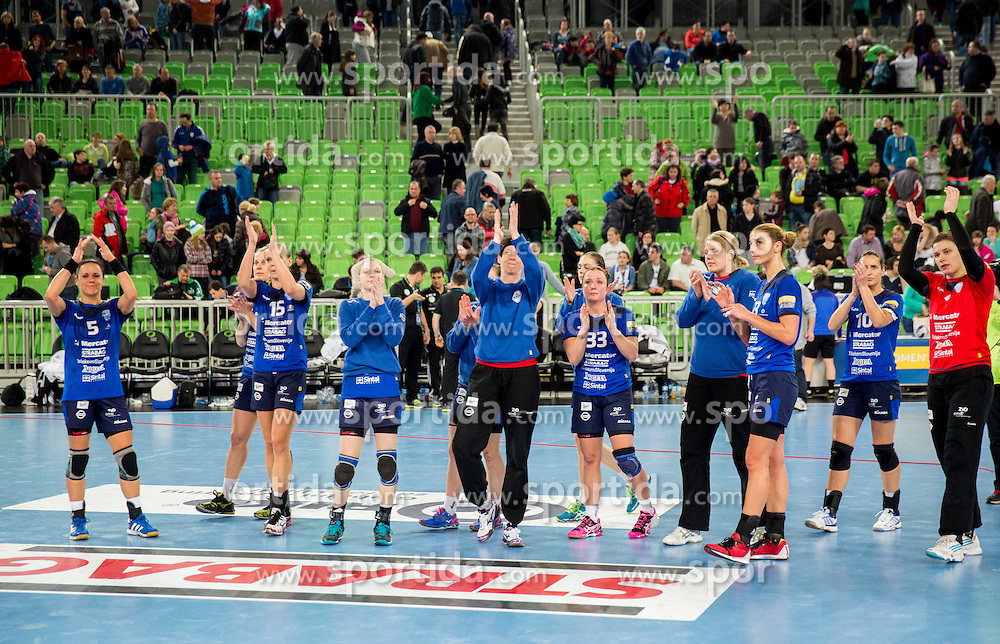 Players of Krim disappointed after the handball match between RK Krim Mercator (SLO) and Gyori Audi ETO KC (HUN) in 4th Round of Main Round of  Women's EHF Champions League 2013/14 on March 1, 2014 in Arena Stozice, Ljubljana, Slovenia. Photo by Vid Ponikvar / Sportida
