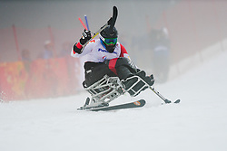 Kurt OATWAY competing in the Alpine Skiing Super Combined Slalom at the 2014 Sochi Winter Paralympic Games, Russia