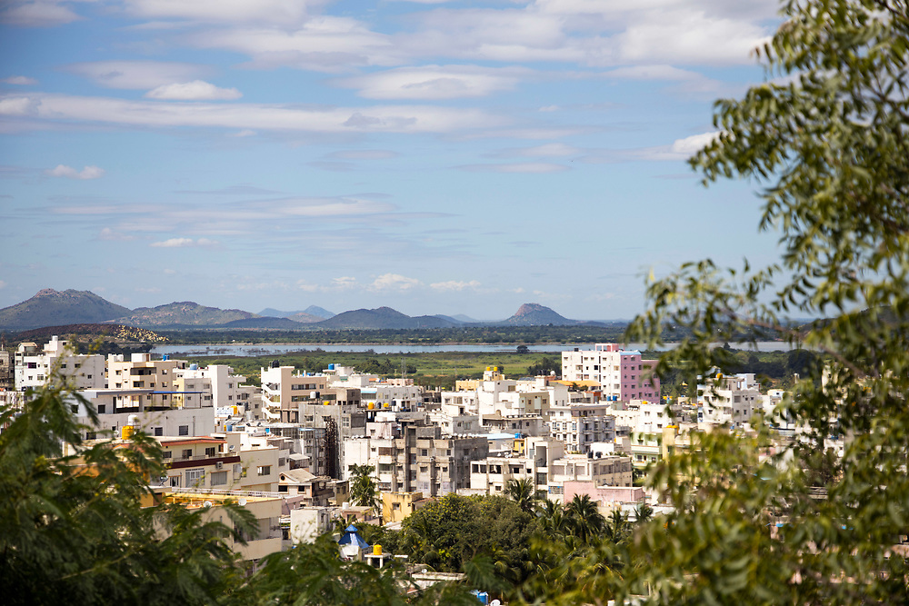 PUTTARPATHI, INDIA - 01st November 2019 - Landscape of Puttarpathi town, Andhra Pradesh, South India.