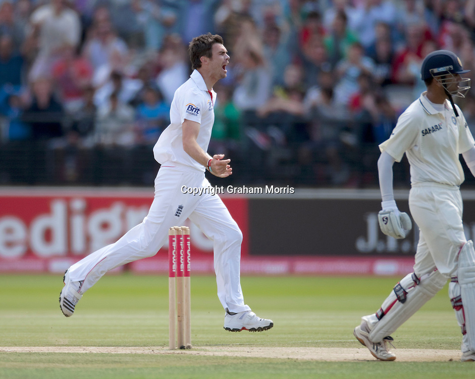 James Anderson celebrates having Rahul Dravid caught during the first npower Test Match between England and India at Lord's Cricket Ground, London.  Photo: Graham Morris (Tel: +44(0)20 8969 4192 Email: sales@cricketpix.com) 25/07/11