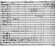 Antonín Dvo?ák  (1841-1904), Czech composer. First page of the autograph score of Dvorak's Symphony  No. 9 in E Minor 'From the New World', 1893.