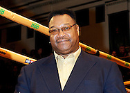 Picture by Alan Stanford/Focus Images Ltd +44 7915 056117<br /> 14/11/2013<br /> Ex World Heavyweight champion Larry Holmes  pictured ringside before their cruiserweight contest at York Hall, Bethnal Green.