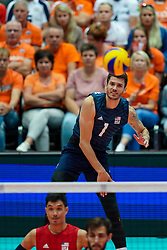 11-08-2019 NED: FIVB Tokyo Volleyball Qualification 2019 / Netherlands - USA, Rotterdam<br /> Final match pool B in hall Ahoy between Netherlands vs. United States (1-3) and Olympic ticket  for USA / Matthew Anderson #1 of USA