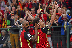 August 31, 2017 - Liege, BELGIUM - Belgium's Axel Witsel (R) celebrates with his teammate Vincent Kompany after scoring during a soccer between Belgian national soccer team Red Devils and Gibraltar, a World Cup 2018 qualification game in Group H, Thursday 31 August 2017 in Liege, Belgium. BELGA PHOTO DIRK WAEM (Credit Image: © Dirk Waem/Belga via ZUMA Press)