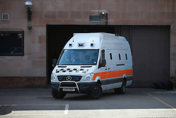 © Licensed to London News Pictures. 03/04/2013.Nottingham, UK. The van at Nottingham crown Court which brought the Mairead Philpott, Michael Philpott and Paul Mosley.The last day of the Philpott fire hearing. Three individuals, Mairead Philpott, Michael Philpott and Paul Mosley are sentenced for manslaughter of 6 children in Derby 2012 at Nottingham Crown Court. The Judge has decided more time is needed meaning the sentencing has been postponed until 10:30am tomorrow (Thursday 4th April 2013)   .   Photo credit : Tom Maddick/LNP