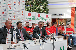 President of KZS Dusan Sesok, Tone Krump, Marko Milic, Ales Pipan  at press conference of Slovenian basketball National Team before departure to European Championships Belgrade 2005, on September 13, 2005, City park, BTC, Ljubljana, Slovenia.  (Photo by Vid Ponikvar / Sportida)