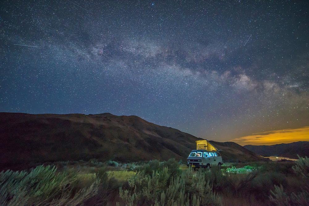 VW Westfalia camped overlooking the Snake River above Spring Recreation Site near Huntington, Oregon.