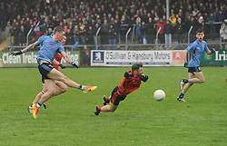 Westport Phil Keegan has his shot on goal saved by Kenmare&rsquo;s Dara Crowley during the All Ireland Club semi-final.<br /> Pic Conor McKeown