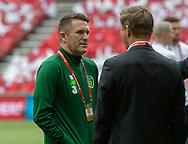 FOOTBALL: Assistant Manager Robbie Keane (Ireland) talking to Assistant Coach Jon Dahl Tomasson (Denmark) before the EURO 2020 Qualifier match between Denmark and Ireland at Parken Stadium on June 7, 2019 in Copenhagen, Denmark. Photo by: Claus Birch / ClausBirchDK.