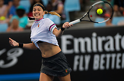 January 16, 2019 - Melbourne, AUSTRALIA - PETRA KVITOVA of the Czech Republic in action against Irina-Camelia Begu of Romania during her second-round match at the 2019 Australian Open Grand Slam tennis tournament. Kvitova won 6:1, 6:3. (Credit Image: © AFP7 via ZUMA Wire)