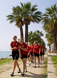 LARNACA, CYPRUS - Tuesday, March 6, 2018: Wales' captain Sophie Ingle and Angharad James during a team walk around the Palm Beach Hotel & Bungalows in Larnaca on day eight of the Cyprus Cup tournament. (Pic by David Rawcliffe/Propaganda)