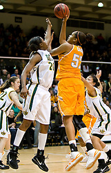 December 22, 2009; San Francisco, CA, USA;  Tennessee Lady Volunteers center Kelley Cain (52) shoot over San Francisco Dons forward Donnisha Taylor (20) during the first half at War Memorial Gym.  Tennessee defeated San Francisco 89-34.
