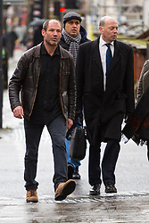 James Matthews (left), 43, arrives at Westminster Magistrates Court where he faces a charge of attending a place used for terrorist training, under the Terrorism Act 2006, after fighting against ISIS with the Kurdish YPG militia. London, February 14 2018.