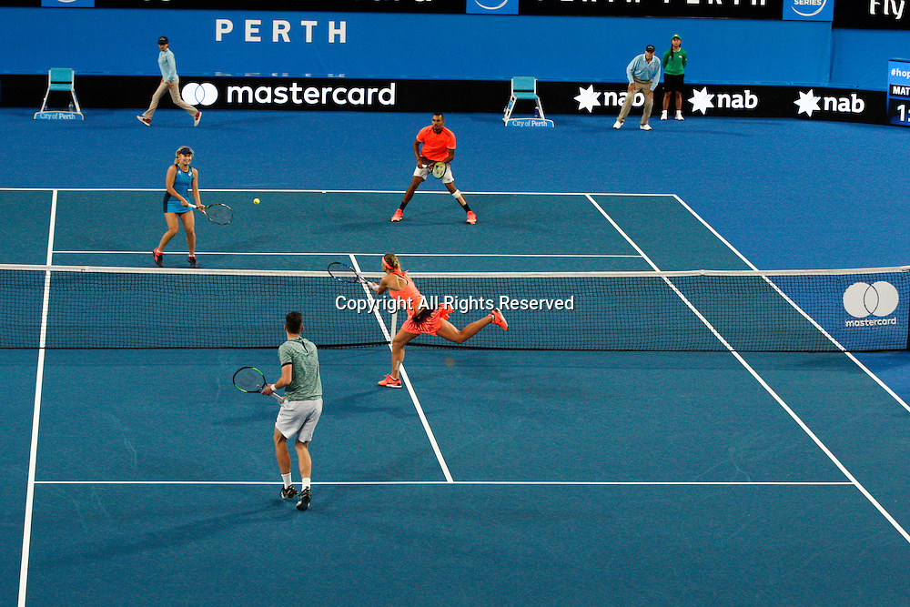 03.01.2017. Perth Arena, Perth, Australia. Mastercard Hopman Cup International Tennis tournament. Mixed doubles action between Australia and the Czech Republic. The Czech Republic won 3-4, 4-3, 4-2.