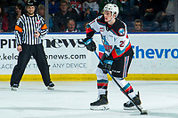 KELOWNA, BC - JANUARY 4: Jake Lee #21 of the Kelowna Rockets passes the puck against the Vancouver Giants at Prospera Place on January 4, 2020 in Kelowna, Canada. (Photo by Marissa Baecker/Shoot the Breeze)