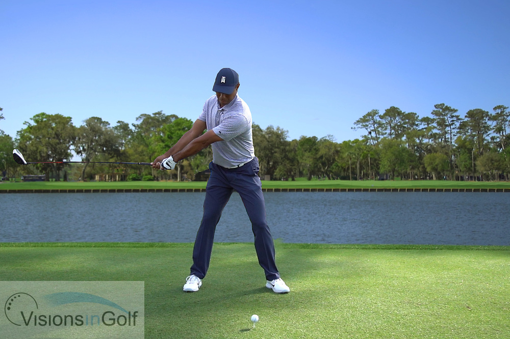 Tiger Woods<br /> with driver face on<br /> High speed swing sequence<br /> 2019<br /> <br /> Pictures Credit: Mark Newcombe/visionsingolf.com