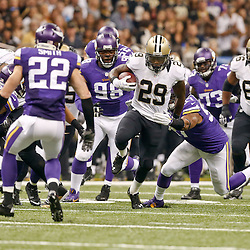 Sep 21, 2014; New Orleans, LA, USA; New Orleans Saints running back Khiry Robinson (29) runs against the Minnesota Vikings during the first quarter of a game at Mercedes-Benz Superdome. Mandatory Credit: Derick E. Hingle-USA TODAY Sports