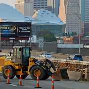 Interstate 35 in downtown Kansas City MO undergoing repairs by MODOT (Missouri Department of Transportation) in summer of 2013.