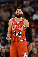 Nov 18, 2015; Phoenix, AZ, USA; Chicago Bulls forward Nikola Mirotic (44) reacts on the court in the NBA game against the Phoenix Suns at Talking Stick Resort Arena. The Bulls won 103-97. Mandatory Credit: Jennifer Stewart-USA TODAY Sports