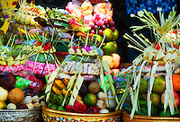 A variety of beautifully presented temple offerings.  Nature's bounty in Bali, Indonesia.