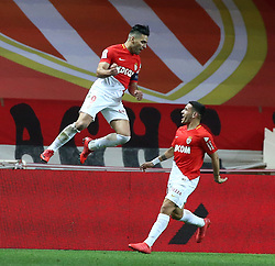 FONTVIEILLE, Feb. 5, 2018  Radamel Falcao (L) of Monaco celebrates with his teammate Rony Lopez during a French Ligue 1 football match between Monaco and Lyon in Fontvieille, Monaco, on Feb. 4, 2018. Monaco won 3-2. (Credit Image: © Serge Haouzi/Xinhua via ZUMA Wire)