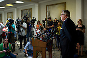 George Mason, Senior Pastor, addresses the press at the Wilshire Baptist Church about the passing of the first Ebola patient in America, Thomas Eric Duncan,  in Dallas, Texas on October 8, 2014. (Cooper Neill for The New York Times)