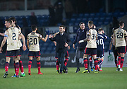 2nd December 2017, Global Energy Stadium, Dingwall, Scotland; Scottish Premiership football, Ross County versus Dundee; Dundee manager Neil McCann congratulates Dundee's Faissal El Bakhtaoui at full time