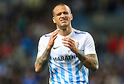 MALAGA, SPAIN - DECEMBER 09:  Sandro Ramirez of Malaga CF reacts after missing a chance of goal during La Liga match between Malaga CF and Granada CF at La Rosaleda Stadium December 9, 2016 in Malaga, Spain.  (Photo by Aitor Alcalde Colomer/Getty Images)