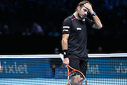 Stan Wawrinka looses a game during the ATP World Tour Finals at the O2 Arena, London, United Kingdom on 20 November 2015. Photo by Phil Duncan.