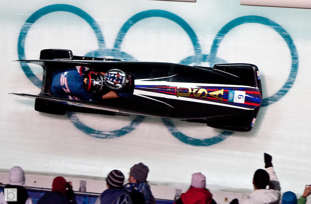 Tuesday, Feb 23, 2010; The USA3 Woman's Bobsled with Bree Schaaf driving and Emily Azevado on the brakes competes in the second heat of the 2010 Winter Olympics Woman Bobsled competition at the Whistler Sliding Center in Whistler, BC, Canada. (Photo/Todd Bissonette - www.usabobsledphotos.com)