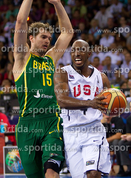 Tiago Splitter of Brasil vs Chauncey Billups of USA during the Preliminary Round - Group B basketball match between National teams of USA and Brasil at 2010 FIBA World Championships on August 30, 2010 at Abdi Ipekci Arena in Istanbul, Turkey. (Photo By Vid Ponikvar / Sportida.com)